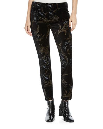 Metallic Floral Velvet Skinny Ankle Pants