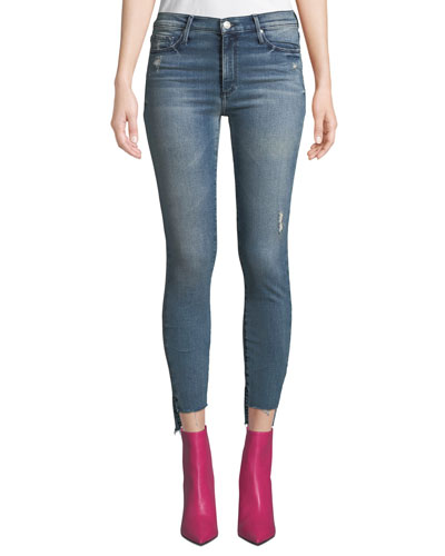 Miranda Step-Hem Distressed High-Rise Skinny Jeans