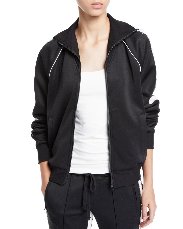 Embellished Zip-Front Track Jacket with Racer Stripes