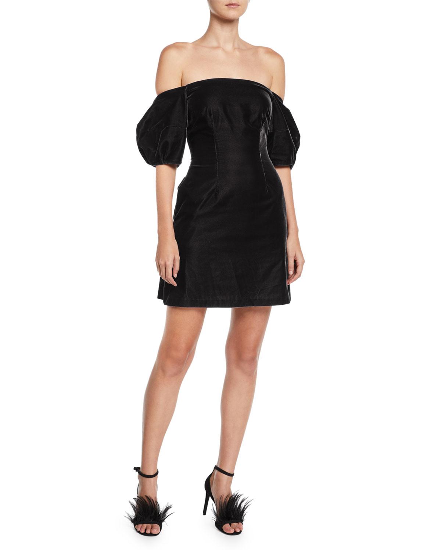 Puff-Sleeve Velvet Mini Dress