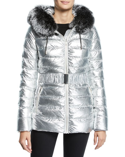 Metallic Puffer Jacket w/ Fur Trim
