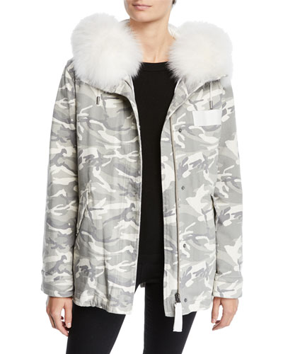 Slim Reversible Camo & Fur Puffer Jacket