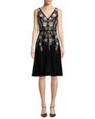 Aidan Mattox V-Neck 3D Floral Embroidered Velvet Dress