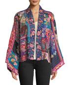 Johnny Was Adley Embroidered Silk Kimono Jacket