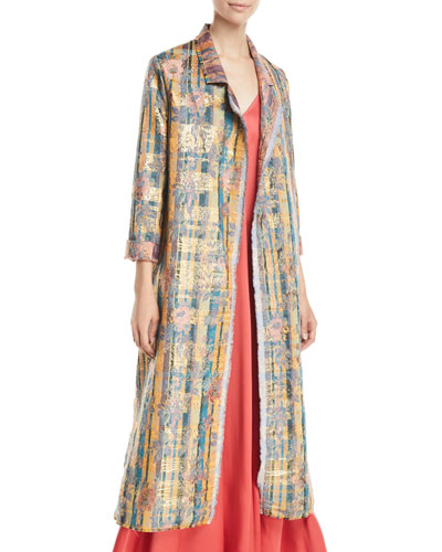 Sea Roses Jacquard Open-Front Long Coat