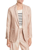 Forte Forte Iridescent Linen Satin Single-Button Jacket and