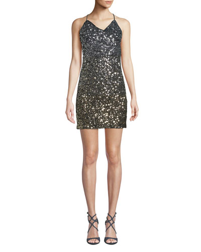 Glimmer Sequined V-Neck Short Cocktail Dress