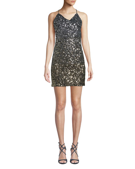 Bardot Glimmer Sequined V-Neck Short Cocktail Dress