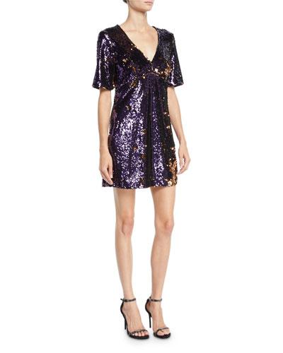 Sequined V-Neck Short-Sleeve Cocktail Dress