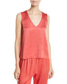 Forte Forte Cross-Back Crepe V-Neck Top and Matching