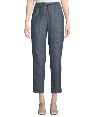 68118166ab299 Quick Look. Eileen Fisher · Petite Chambray Drawstring-Waist Straight-Leg Ankle  Pants