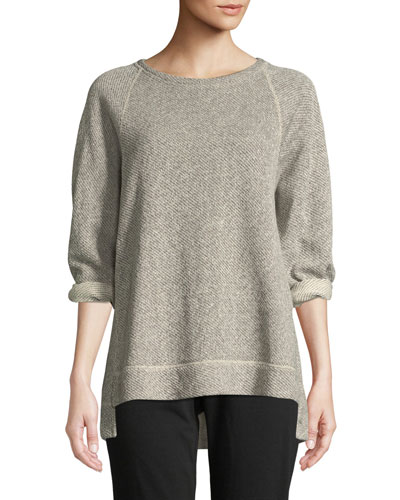 Petite Boat-Neck 3/4-Sleeve Twisted Terry Organic Cotton Top