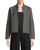 Eileen Fisher Rosette Jacquard Zip-Front Long-Sleeve Short Jacket