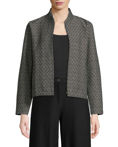 Rosette Jacquard Zip-Front Long-Sleeve Short Jacket