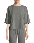 Eileen Fisher Crewneck Elbow-Sleeve Heathered Jersey-Knit Top and