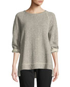 Eileen Fisher Boat-Neck 3/4-Sleeve Twisted Terry Organic Cotton