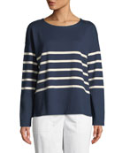 Eileen Fisher Long-Sleeve French Stripe Tee