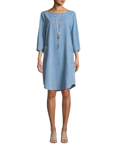 3/4-Sleeve Drapey Denim Dress