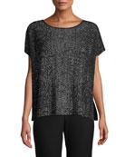 Eileen Fisher Petite Sleek Tencel Printed Short-Sleeve Sweater
