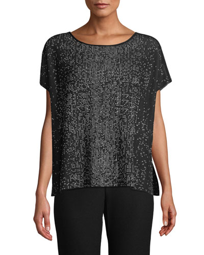 Petite Sleek Tencel Printed Short-Sleeve Sweater