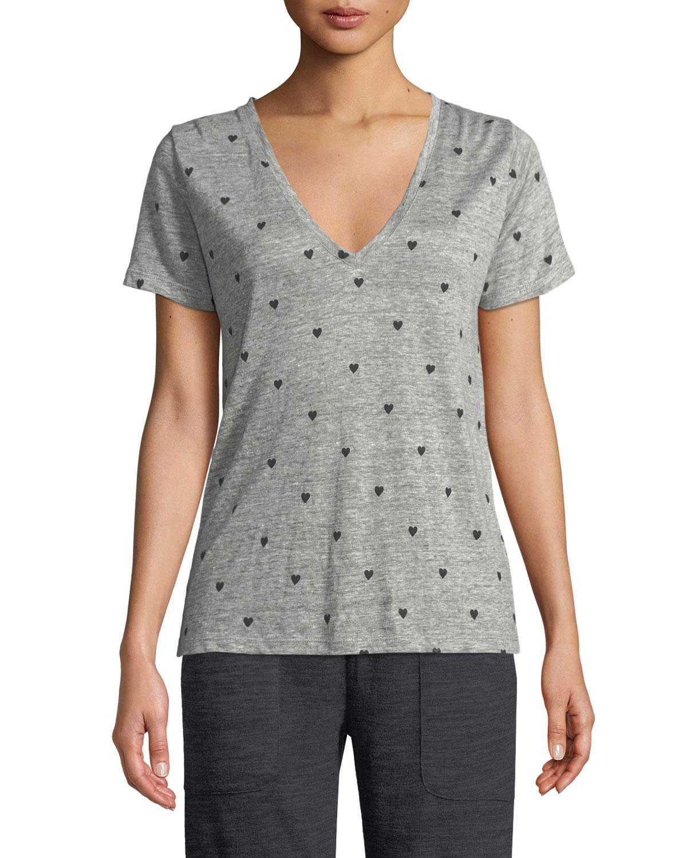 Cara Heart-Print Linen Tee in Heather Grey Black Hearts