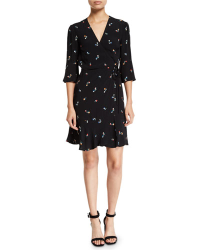 a030f18d9832e Floral-print Short-sleeve Wrap Dress