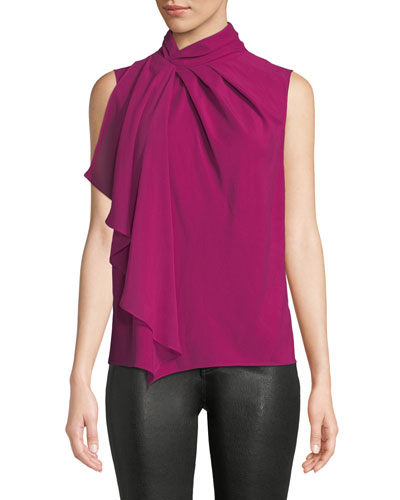 Megan High-Neck Flounce Sleeveless Top