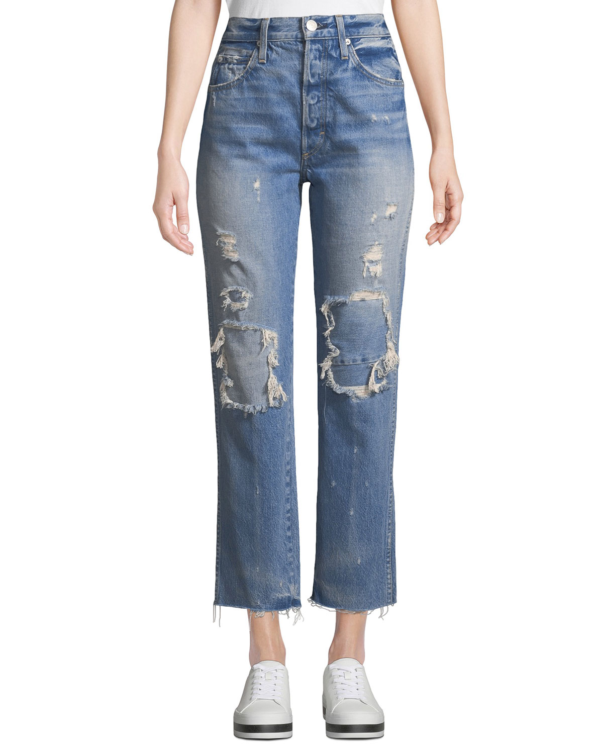 AMO DENIM Loverboy Patched High-Rise Straight-Leg Jeans in Blue