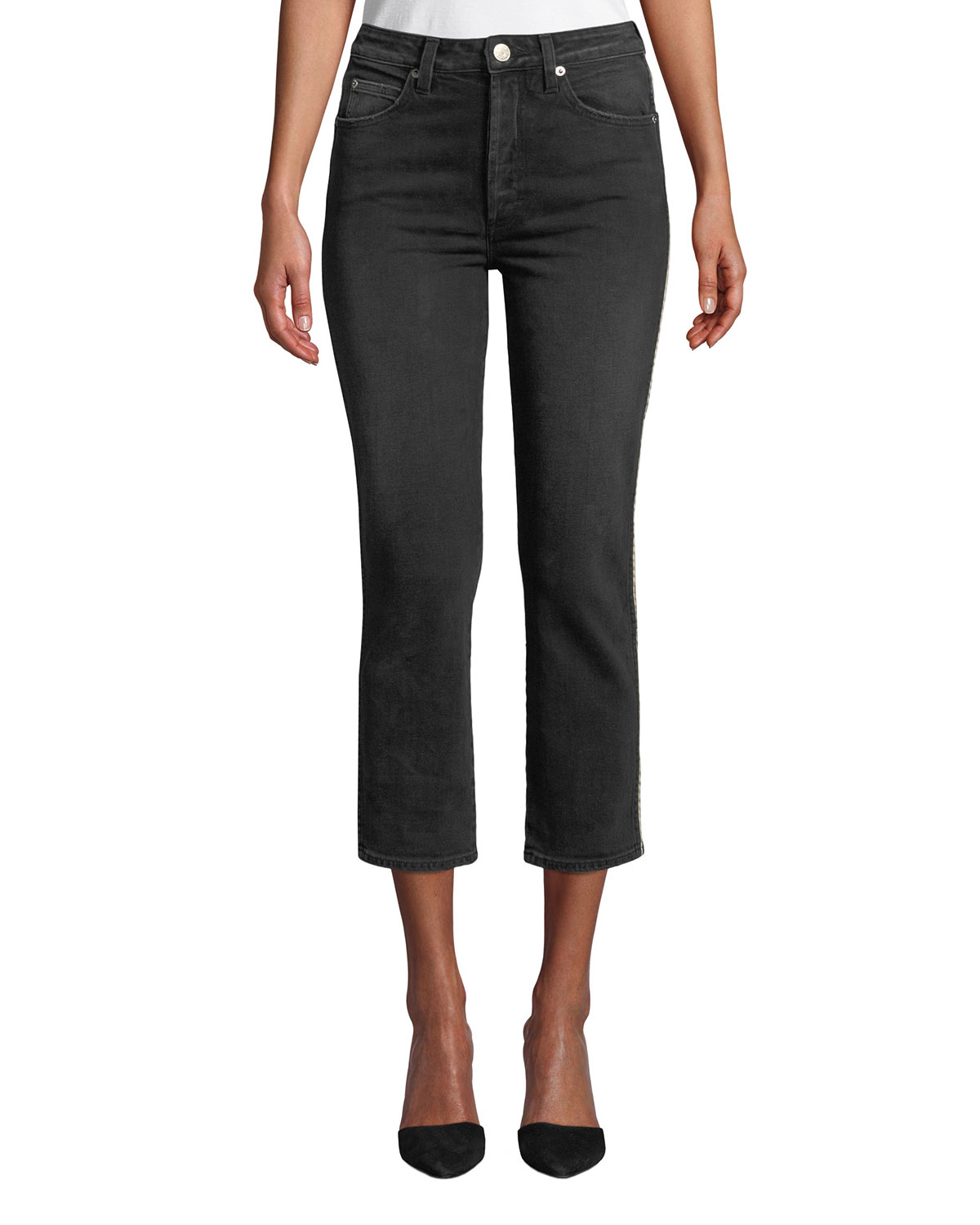 AMO DENIM Chloe Cropped Straight-Leg Jeans With Piping in Black