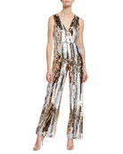 Aidan by Aidan Mattox Sequin Striped V-Neck Jumpsuit