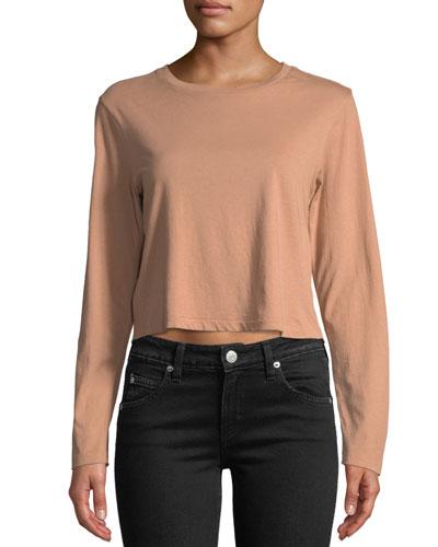 3733da3e19 Quick Look. AMO Denim · Babe Cropped Long-Sleeve Cotton Tee