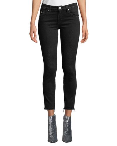 Stix Cropped Raw-Edge Skinny Jeans