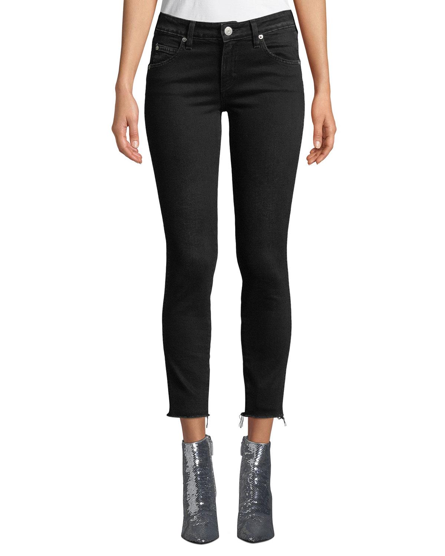 Stix Cropped Raw-Edge Skinny Jeans in Black