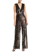 Aidan by Aidan Mattox Sequin Multi-Stripe Sleeveless Straight-Leg
