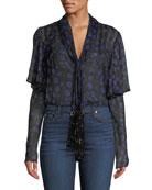 Diane von Furstenberg Margie Floral Tie-Neck Silk Top
