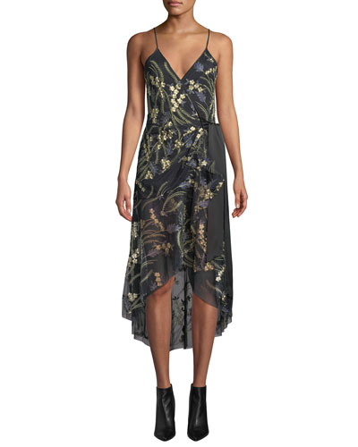 Narrah Embroidered Floral Sleeveless Wrap Dress