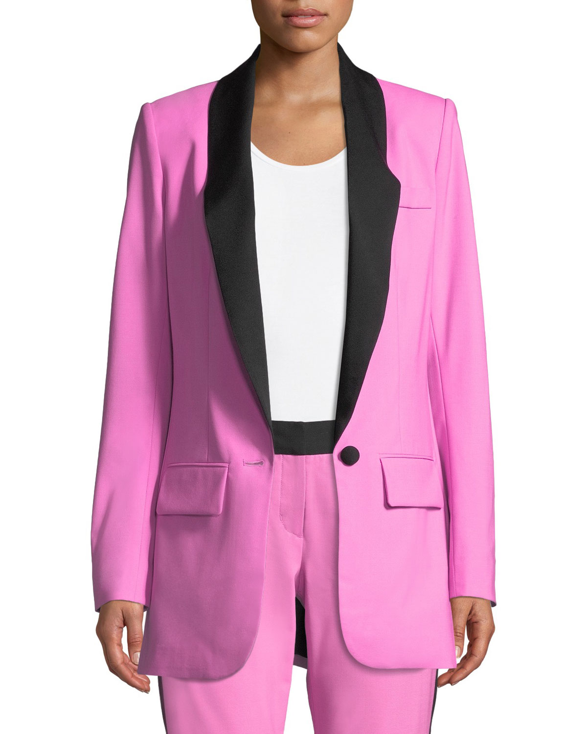 Contrast Lapels Stretch-Wool Jacket in Pink