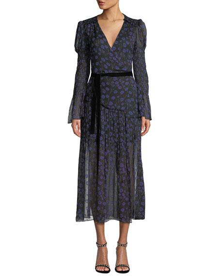 Diane von Furstenberg Ani Floral-Print Smocked Silk Wrap Dress