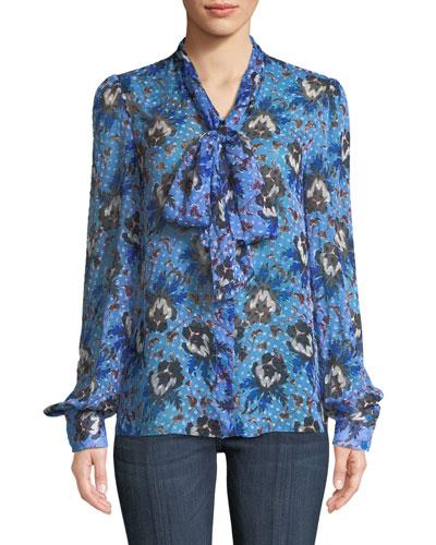 Lanie Floral Button-Front Tie-Neck Blouse