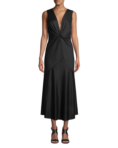 Baila Twist-Front Sleeveless Cocktail Dress
