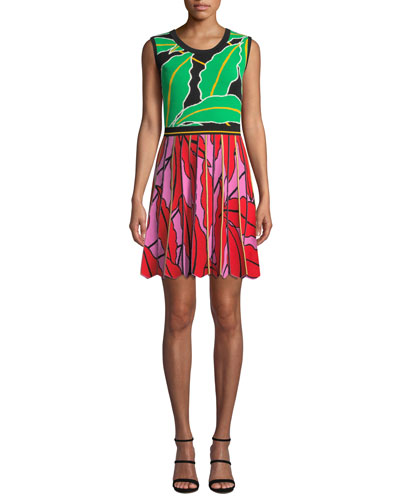 Parker Pleated Leaf-Print Short Dress