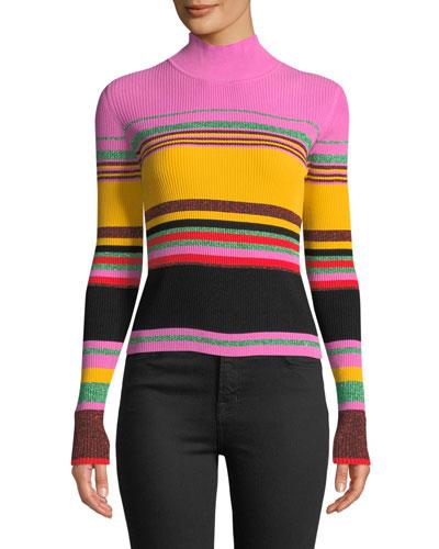 Dara Striped Metallic Turtleneck Sweater