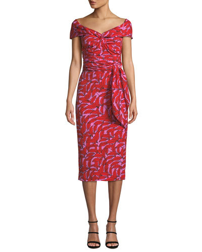 29efe373ba Quick Look. Diane von Furstenberg · Delphine Printed Off-Shoulder Cocktail  Dress. Available in Red Pattern