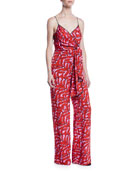 Diane von Furstenberg Barry Printed Stretch-Viscose Tie-Front