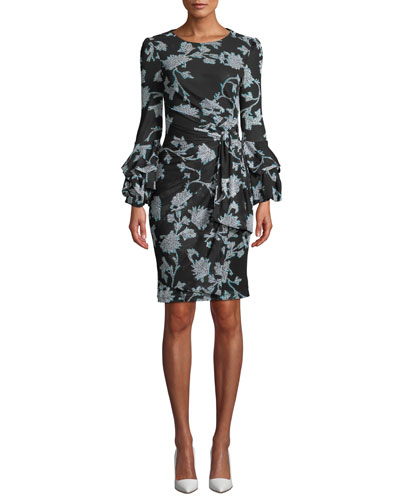 Faridah Printed Tie-Front Tucked-Sleeve Dress