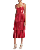 Marchesa Notte Pleated Lame Tiered Cocktail Dress w/