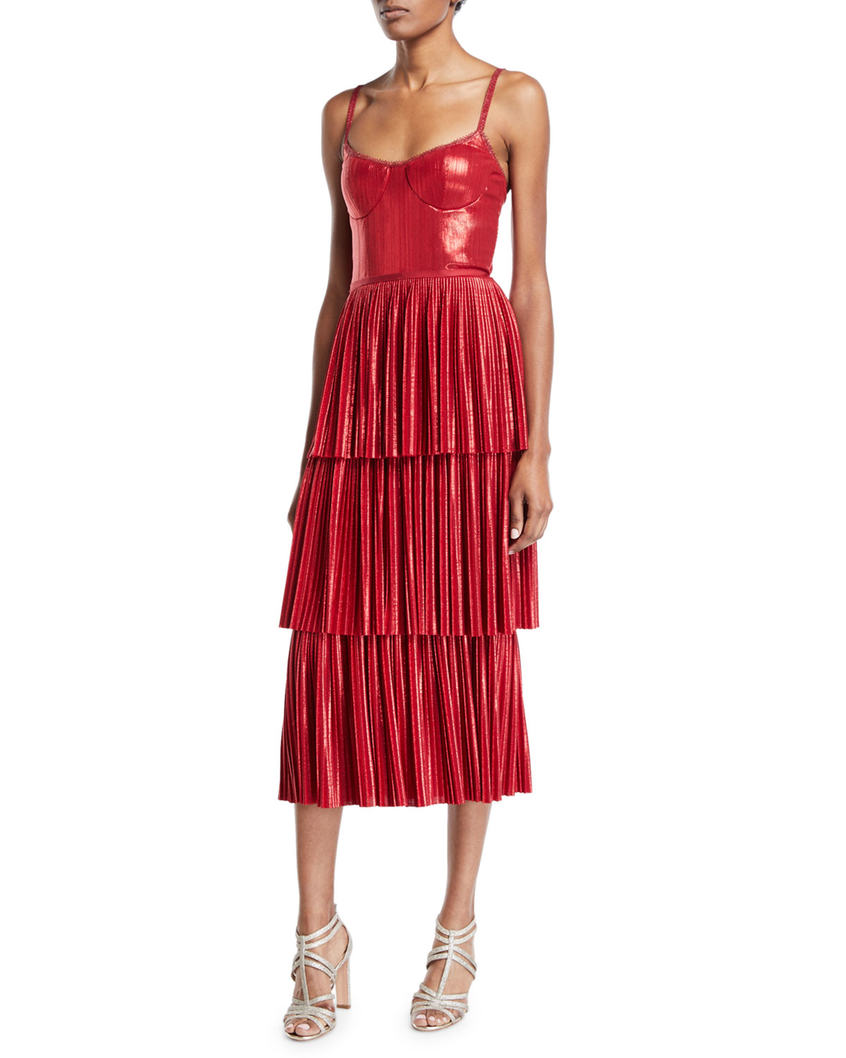 Pleated Lame Tiered Cocktail Dress W/ Metallic Trims in Red