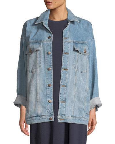 Petite Oversized Long Denim Jacket