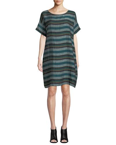 Petite Short-Sleeve Cross-Dyed Linen Dress