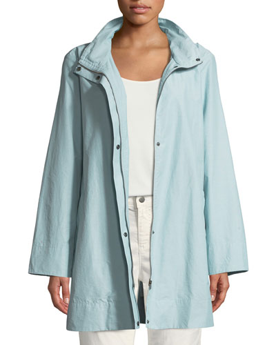 Petite Hooded A-Line Long Outerwear Jacket